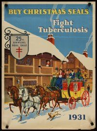 4j625 BUY CHRISTMAS SEALS FIGHT TUBERCULOSIS special 19x26 '31 cool winter scene artwork!