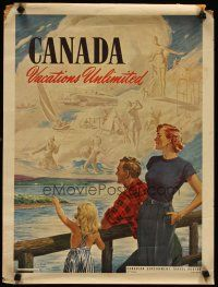 4j599 CANADA VACATIONS UNLIMITED Canadian special 18x24 '50s Goss art of lake & activities!