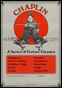 4j082 CHAPLIN special 20x28 '73 great image of Charlie with cane wearing rollerskates!