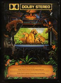 4j043 DOLBY STEREO special 26x36 '90 artwork of jungle animals in theater!