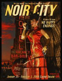 4j021 NOIR CITY film festival poster '08 image of sexy smoking Asian woman with gun!