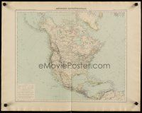 4j604 NORTH AMERICA French 21x27 map 1889 wonderful Giffault map of the continent!