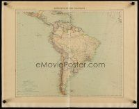 4j605 SOUTH AMERICA French 21x27 map 1898 wonderful Huot map of the continent!