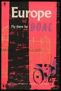 4j406 BOAC EUROPE English travel poster '57 cool art of couple in carriage!