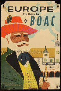 4j407 BOAC EUROPE English travel poster '59 cool art of man in hat on street!