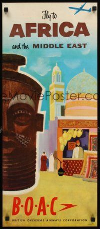 4j408 BOAC FLY TO AFRICA & THE MIDDLE EAST travel poster '50s wonderful art of mask & village!