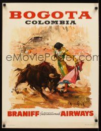 4j421 BRANIFF INTERNATIONAL AIRWAYS BOGOTA COLOMBIA Mexican travel poster '60s art of matador!