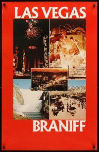 4j322 BRANIFF LAS VEGAS red style travel poster '70s casinos, Hoover Dam & showgirls!