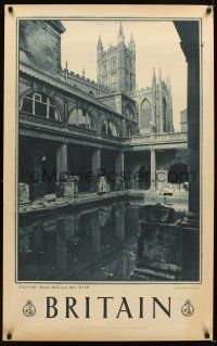 4j416 BRITAIN Bath style English travel poster '60s cool image of Roman Baths & Abbey!