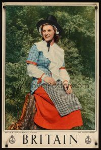 4j415 BRITAIN English travel poster '60s Wales, image of girl in National Costume!