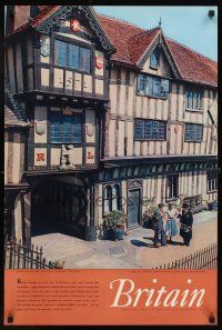4j414 BRITAIN English travel poster '60s Lord Leycester's hospital, Warwick England!