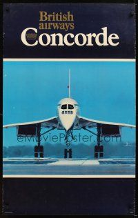 4j417 BRITISH AIRWAYS CONCORDE English travel poster '78 cool image of aircraft on runway!