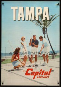 4j353 CAPITAL AIRLINES TAMPA travel poster '60s cool image of couples vacationing in Florida!