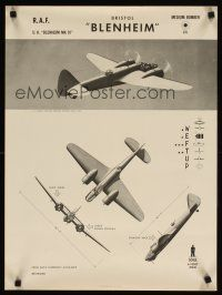 4j210 BRISTOL BLENHEIM 19x25 WWII war poster '44 cool images of aircraft, ID training poster!
