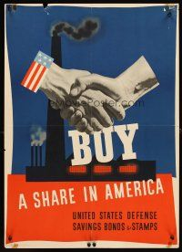 4j212 BUY A SHARE IN AMERICA 20x28 WWII war poster '41 Atherton artwork of shaking hands!