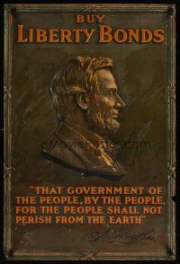 4j175 BUY LIBERTY BONDS 20x30 WWI war poster '17 classic profile image of Abraham Lincoln!