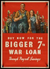 4j214 BUY NOW FOR THE BIGGER 7TH WAR LOAN 20x28 WWII war poster '45 cool art of workers w/money!