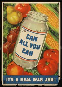 4j216 CAN ALL YOU CAN IT'S A REAL WAR JOB 16x23 WWII war poster '43 cool art of vegetables!