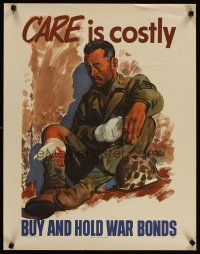 4j217 CARE IS COSTLY 22x28 WWII war poster '45 cool Treidler artwork of weary soldier!