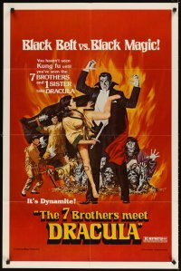 4m013 7 BROTHERS MEET DRACULA 1sh '79 The Legend of the 7 Golden Vampires, different art!