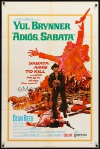 4m022 ADIOS SABATA 1sh '71 Yul Brynner aims to kill, and his gun does the rest!