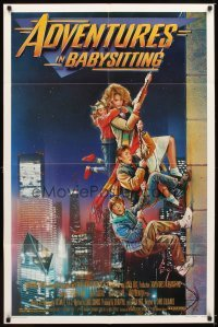 4m023 ADVENTURES IN BABYSITTING 1sh '87 artwork of young Elisabeth Shue by Drew Struzan!