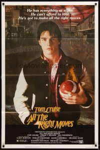 4m033 ALL THE RIGHT MOVES 1sh '83 close up of high school football player Tom Cruise!