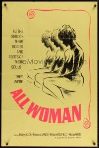 4m035 ALL WOMAN 1sh '67 Robert Alda, Rebecca Sand, they were all woman, sexy artwork!