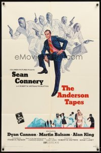 4m042 ANDERSON TAPES 1sh '71 art of Sean Connery & gang of masked robbers, Sidney Lumet
