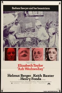 4m050 ASH WEDNESDAY 1sh '73 beautiful aging Elizabeth Taylor gets extensive plastic surgery!
