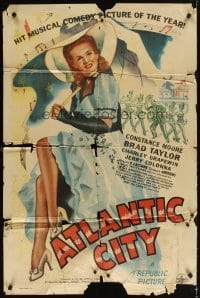 4m053 ATLANTIC CITY 1sh '44 sexy Constance Moore with bonnett & umbrella in New Jersey!
