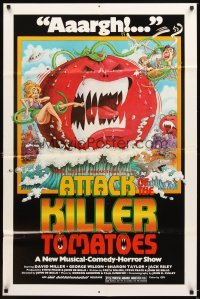 4m054 ATTACK OF THE KILLER TOMATOES 1sh '79 wacky monster artwork by David Weisman!