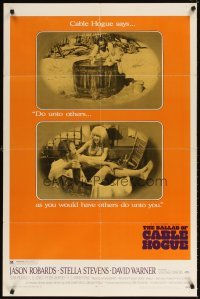 4m061 BALLAD OF CABLE HOGUE 1sh '70 Sam Peckinpah, Robards & sexy Stella Stevens in wash tub!