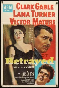 4m079 BETRAYED 1sh '54 art of Clark Gable, Victor Mature & sexy brunette Lana Turner!
