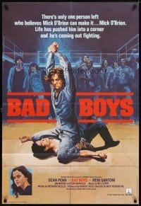 4m058 BAD BOYS English 1sh '83 life has pushed Sean Penn into a corner, wild prison fight art!