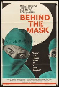 4m073 BEHIND THE MASK English 1sh '58 cool close up artwork of doctor Michael Redgrave!