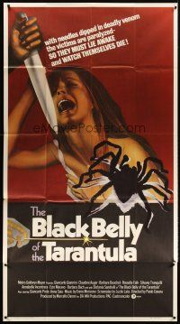 4s575 BLACK BELLY OF THE TARANTULA int'l 3sh '72 art of spider & terrified girl attacked by knife!