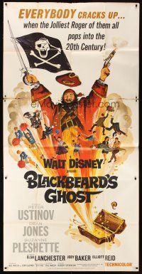 4s577 BLACKBEARD'S GHOST 3sh '68 Walt Disney, artwork of wacky pirate Peter Ustinov!