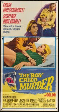 4s581 BOY CRIED MURDER 3sh '66 remake of The Window written by Cornell Woolrich!
