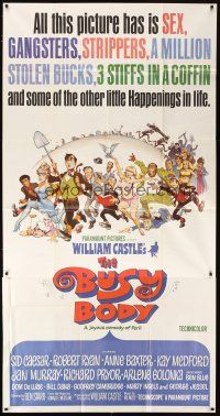 4s589 BUSY BODY 3sh '67 William Castle, great wacky art of entire cast by Frank Frazetta!