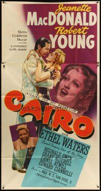 4s590 CAIRO 3sh '42 romantic art of Jeanette MacDonald & Robert Young, Ethel Waters!