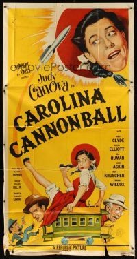 4s597 CAROLINA CANNONBALL 3sh '55 wacky art of Judy Canova on train, sci-fi comedy!