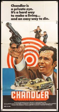 4s599 CHANDLER 3sh '71 Warren Oates, Leslie Caron, Alex Dreier, cool car chase art!