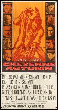 4s600 CHEYENNE AUTUMN 3sh '64 John Ford directed, artwork of soldier fighting Native American!