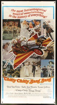 4s605 CHITTY CHITTY BANG BANG 3sh '69 Dick Van Dyke, Sally Ann Howes, artwork of wild flying car!