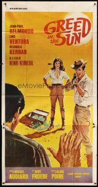 4s663 GREED IN THE SUN 3sh '65 artwork of Jean-Paul Belmondo aiming rifle, Henri Verneuil