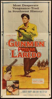 4s664 GUNMEN FROM LAREDO 3sh '59 western action art of cowboy drawing gun in gunfight!