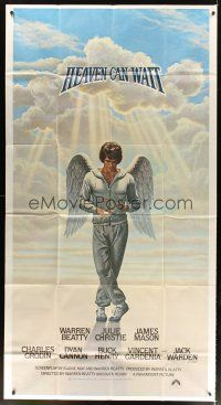 4s668 HEAVEN CAN WAIT int'l 3sh '78 art of angel Warren Beatty wearing sweats by Lettick, football!