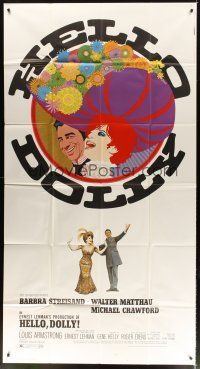 4s670 HELLO DOLLY 3sh '70 best art of Barbra Streisand & Walter Matthau by Richard Amsel!