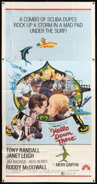 4s671 HELLO DOWN THERE 3sh '69 Tony Randall & Janet Leigh wacky ocean sci-fi rock & roll comedy!